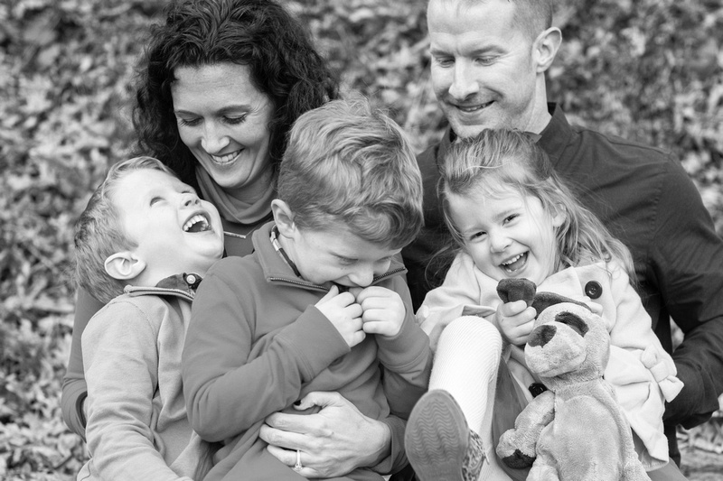 Family of five portrait in Asheville BW