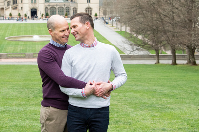 same sex gay couple engaged at Biltmore Estate in Asheville NC