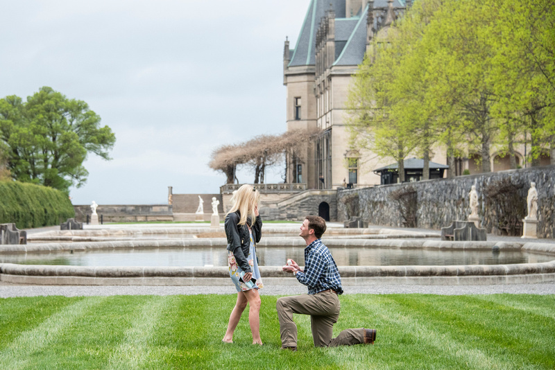 Engagement proposal in Italian Garden at Bitmore Estate in Asheville