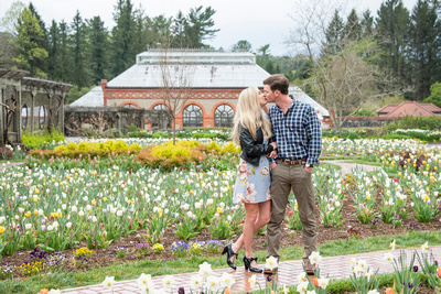 Spring engagement photos in walled garden at Bitmore Estate in Asheville