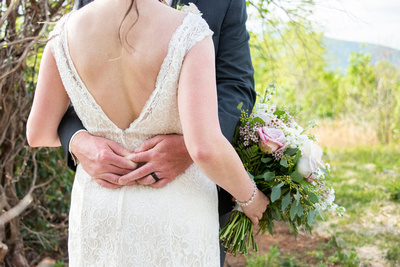 Back of brides dress with mountain view at Something Blue Mountain Venue near Asheville NC
