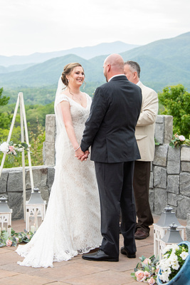 Bride during ceremony at Something Blue Mountain Venue near Asheville NC