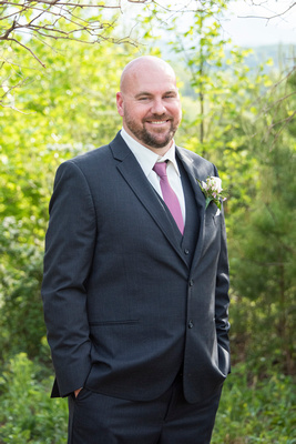 Groom portrait at Something Blue Mountain Venue in Marion NC