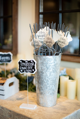 Wedding sparkler sign and bucket at Something Blue Mountain Venue in Marion NC