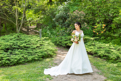 Bridal portrait in nature at botanical gardens before wedding the Grand Bohemian Hotel in Asheville NC