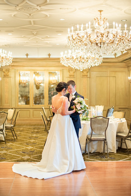 Bride and groom first look at the Grand Bohemian Hotel in Asheville NC