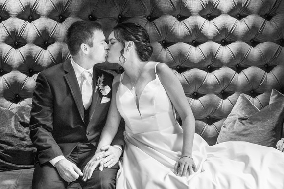 Bride and groom kissing at the Grand Bohemian Hotel in Asheville NC