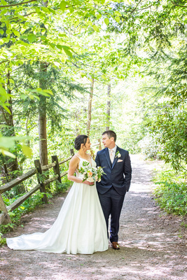 couples portrait at botanical gardens before wedding at the Grand Bohemian Hotel in Asheville NC