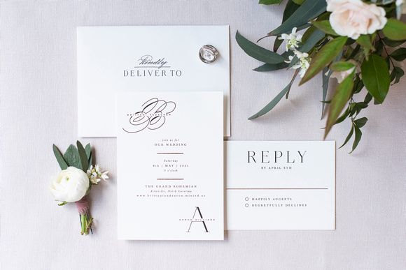 Minted wedding invitaion suite with flowers at the Grand Bohemin Hotel in Asheville NC