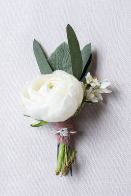 Wedding boutonniere by Flora at the Grand Bohemian Hotel in Asheville NC