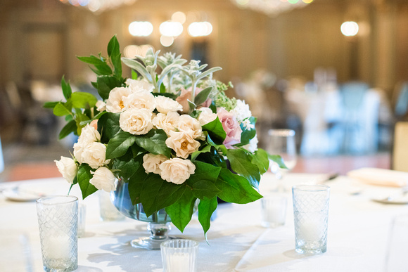 Wedding centerpiece by Flora at the Grand Bohemian Hotel in Asheville NC