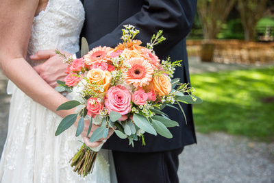 Bridal bouquet from Andrew's Florist at Hawkesdene in Andrews, NC
