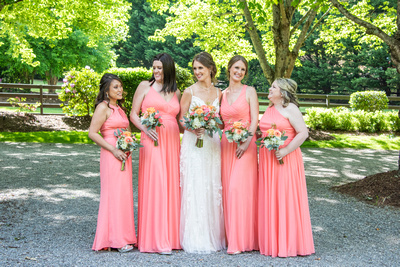 Bride and bridesmaids at Hawkesdene in Andrews, NC