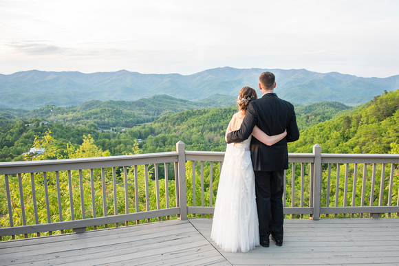 Bride and groom looking out at mountains at Hawkesdene in Andrews, NC near Asheville