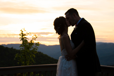 Bride and groom sunset silhouette at Hawkesdene in Andrews, NC near Asheville
