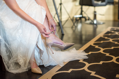 Bride buckling shoe at Hawkesdene in Andrews, NC near Asheville