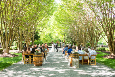 Wedding ceremony during spring at Hawkesdene in Andrews, NC