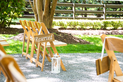 Wedding ceremony reserved seating at Hawkesdene in Andrews, NC