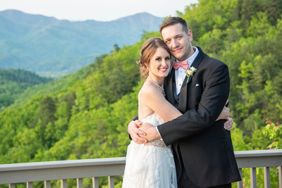 Wedding couple portrait on mountain top at Hawkesdene in Andrews, NC near Asheville