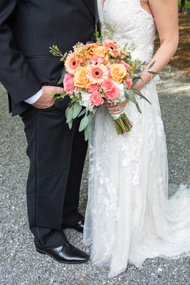 Wedding couples attire and bouquet at Hawkesdene in Andrews, NC