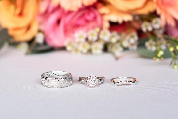 Wedding rings at Hawkesdene in Andrews, NC