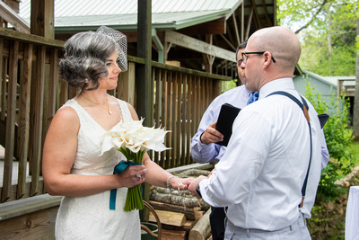 Wedding ceremony at AirBnb in Burnsville NC near Asheville NC
