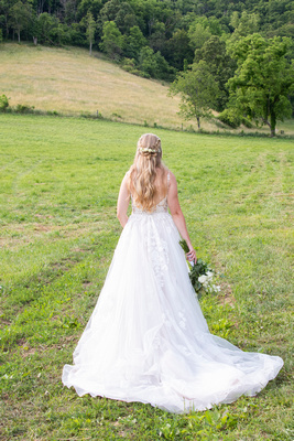 Bridal portrait at wedding at Claxton Farm in Weaverville, near Asheville, NC