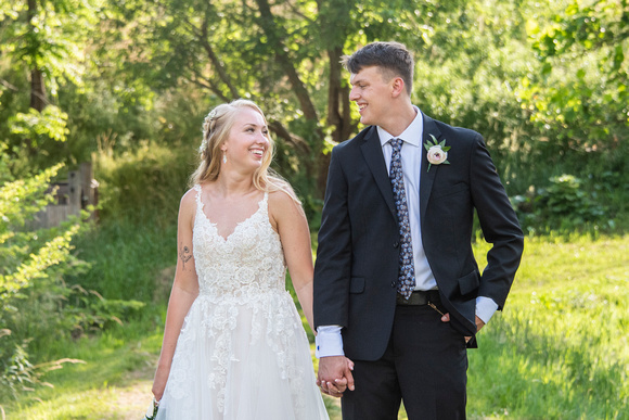 Bride and groom laughing at Claxton Farm in Weaverville, near Asheville, NC