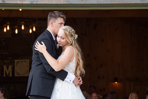 Bride and grooms first dance at wedding at Claxton Farm in Weaverville, near Asheville, NC