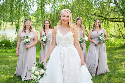 Bride and bridesmaids photo at Claxton Farm in Asheville NC