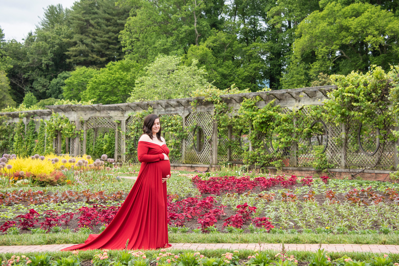 Pregnant woman standing among flowers in walled garden during maternity photos at Biltmore Estate in Asheville