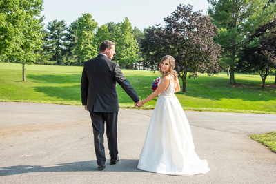 Bride and groom photo at wedding at Omni Grove Park Inn Seely Pavilion