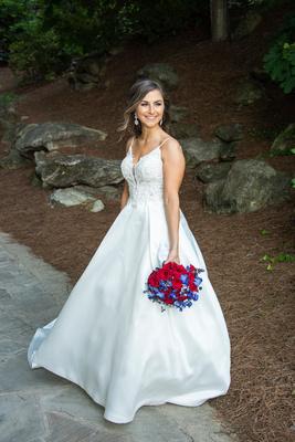Bride portrait at wedding at Omni Grove Park Inn Seely Pavilion