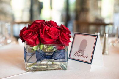 Fourth of July centerpiece at wedding at Omni Grove Park Inn