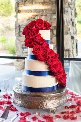 Fourth of July wedding cake at wedding at Omni Grove Park Inn Seely Pavilion