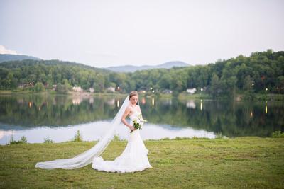 bride lake junaluska with mountain view long veil
