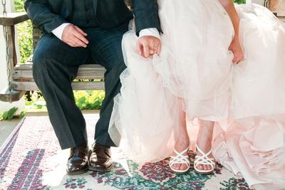 bride and groom feet at fiddle lake farm