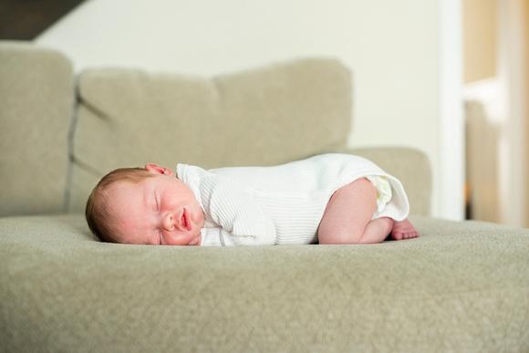 asheville newborn photographer baby sleeping on belly
