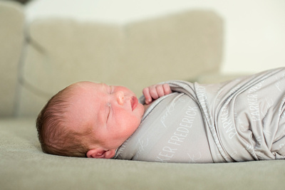 baby sleeping on back with profile asheville newborn photography