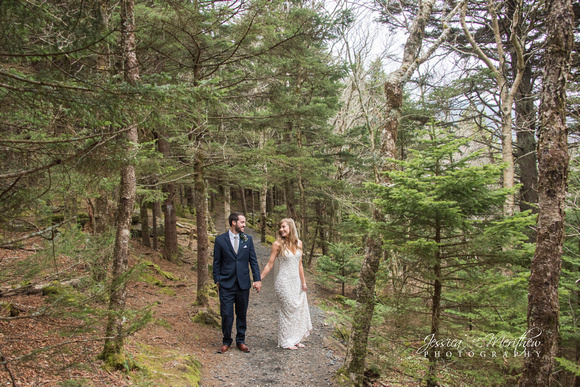 wedding couple on hiking trail pine trees roan mountain tennessee