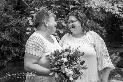 bride and bride same sex wedding black and white brevard nc