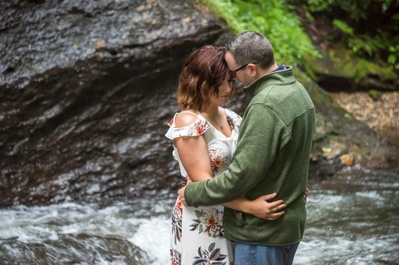 Morning engagement session at Looking Glass Falls