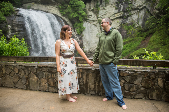 Engaged couple session at Looking Glass Falls in Brevard NC