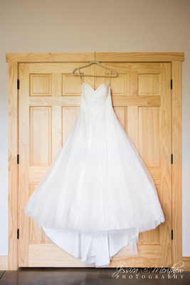 ball gown hanging wedding dress detail in asheville
