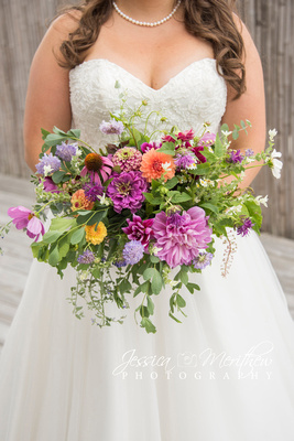 bridal bouquet from carolina flowers at highland brewing wedding in asheville
