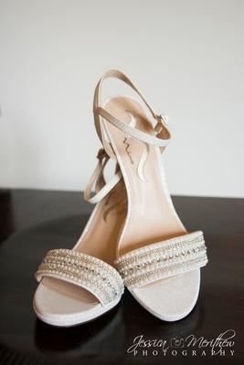 cream open toe wedding shoes sandals