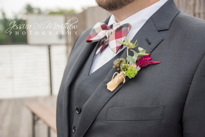grooms tuxedo and boutonniere at highland brewing wedding asheville