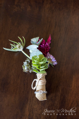 wildflower wedding boutonniere with burlap and ring
