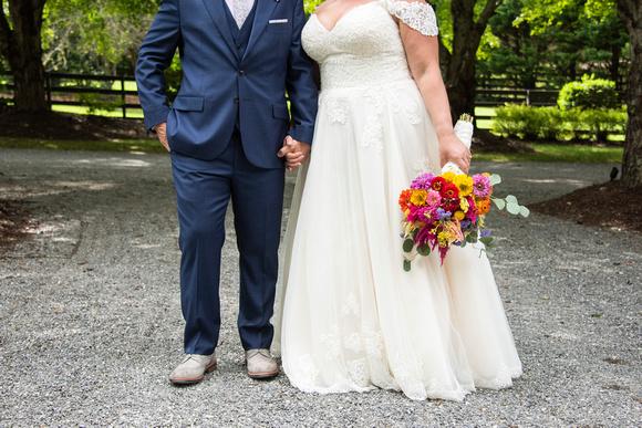 Bride and groom attire at Hawkesdene wedding venue in Andrews NC near Asheville