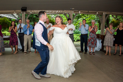 Bride and groom first dance at Hawkesdene wedding venue in Andrews NC near Asheville